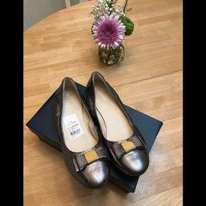 Cole Haan Tali Bow Ballet Silver shoes Sz 10 box
